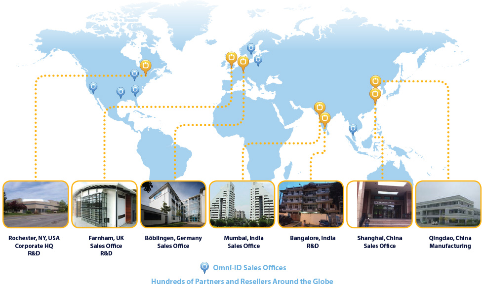 Global map of Omni-ID locations worldwide. Headquarters, sales offices, research and development and manufacturing locations.