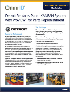 case study. Titled, Detroit replaces paper KANBAN system with ProVIEW for parts replenishment. a screen shot of the case study first page