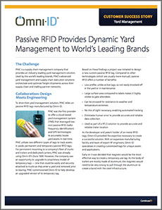 PINC case study. Titled, Passive RFID provides dynamic yard management to world's leading brands. a screen shot of the case study first page