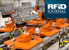 image showing engine manufacturing. demonstrates Omni-ID's custom RFID solutions being used for monitoring a specific production process.